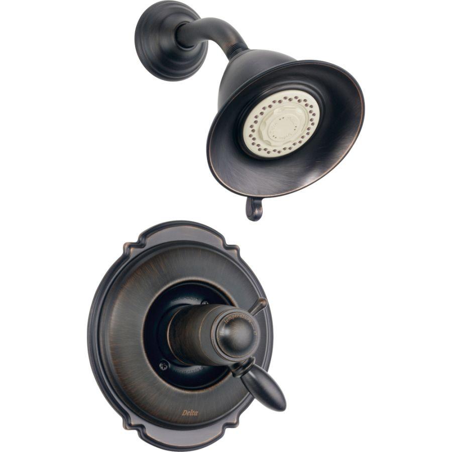 Delta Victorian Venetian Bronze 1 Handle Shower Faucet Trim Kit With  Multi Function Showerhead