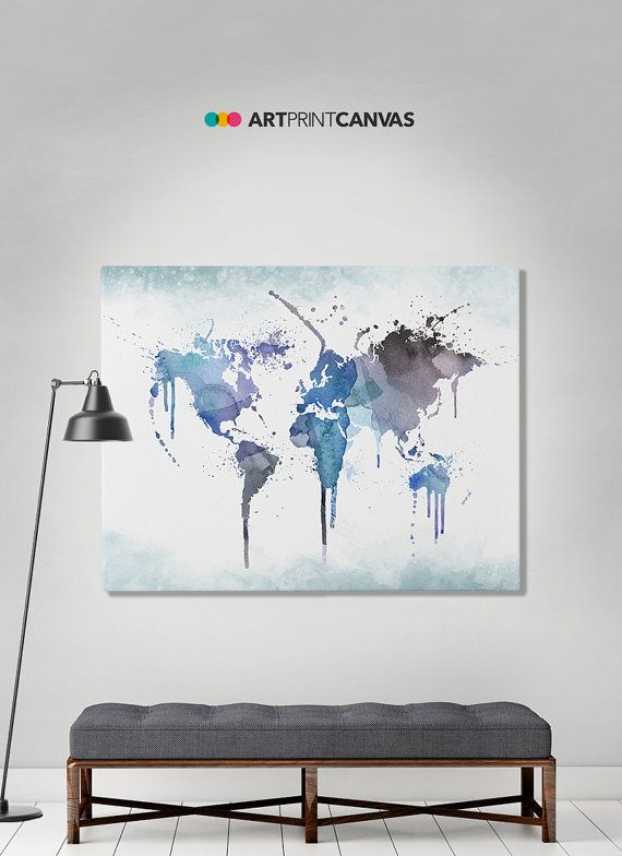 World map poster watercolor world canvas map art print art world world map watercolor print travel maplarge by artprintcanvas gumiabroncs Image collections