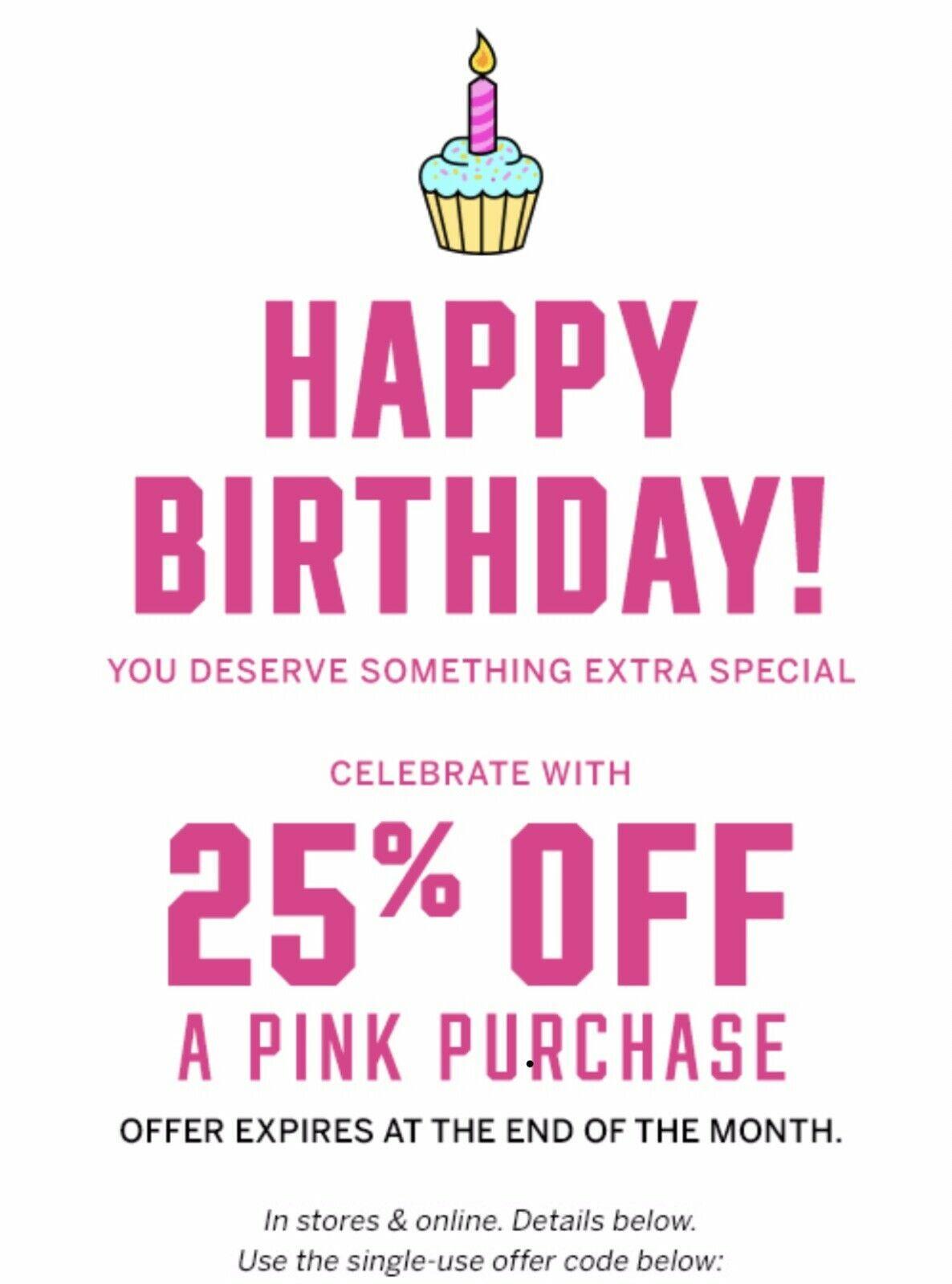 Victorias Secret Vs Pink 25 Birthday Coupon January Online Store Angel Reward Victorias Secret Birthday Coupons 25th Birthday What Is Birthday