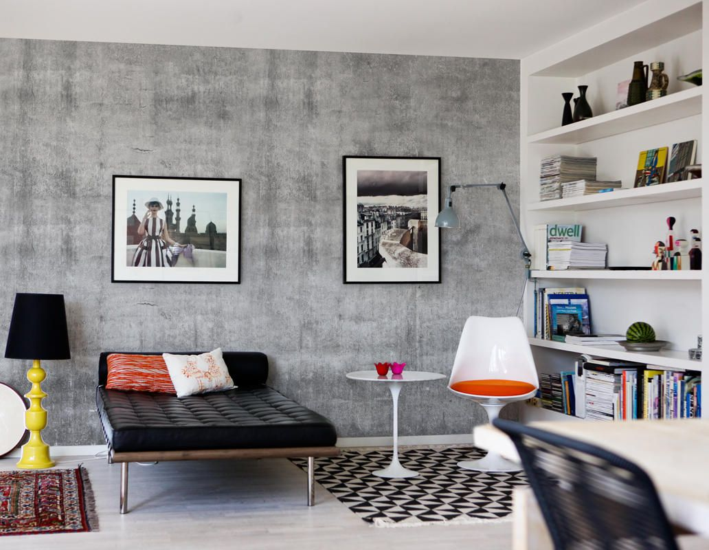Concrete Wall And The Day Bed Wallpaper Interior Design Concrete Walls Interior Concrete Wallpaper