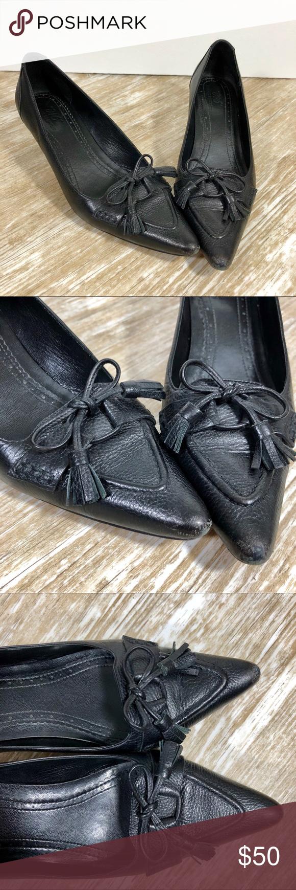 """ae84e0e0e24 Brooks Brothers 346 Leather Bow Tassel Kitten Heel Brooks Brothers """"346""""  Black Leather Bow"""