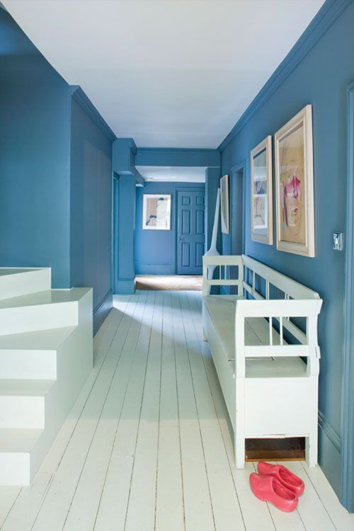 A Hall With Walls In Down Pipe And Slipper Satin Modern Emulsion Woodwork