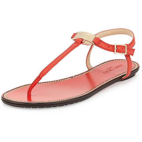 eb511f9e3aa Jimmy Choo Wave Leather Thong Sandal (400 CAD) ❤ liked on Polyvore  featuring shoes