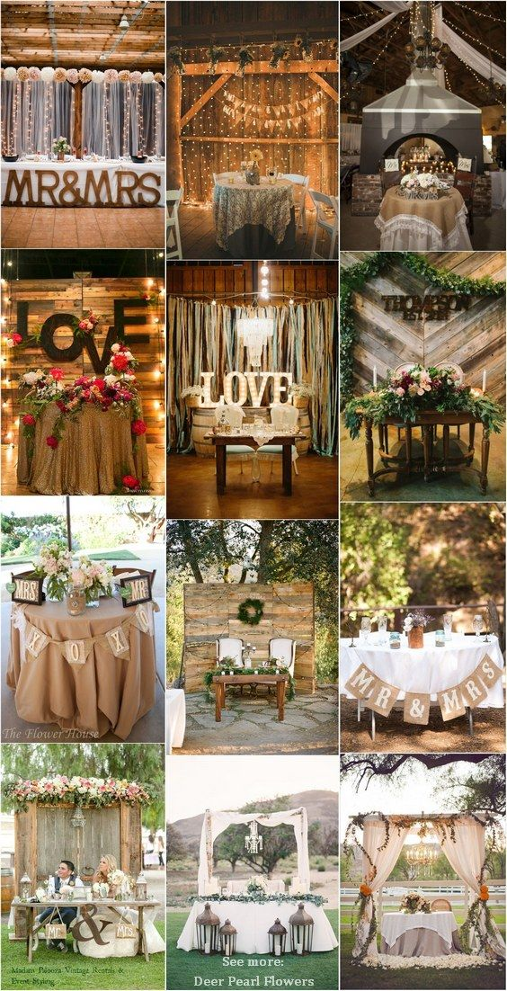 Top 20 rustic country wedding sweetheart table ideas casamento rustic country wedding ideas rustic sweetheart table decor for wedding reception http junglespirit Image collections