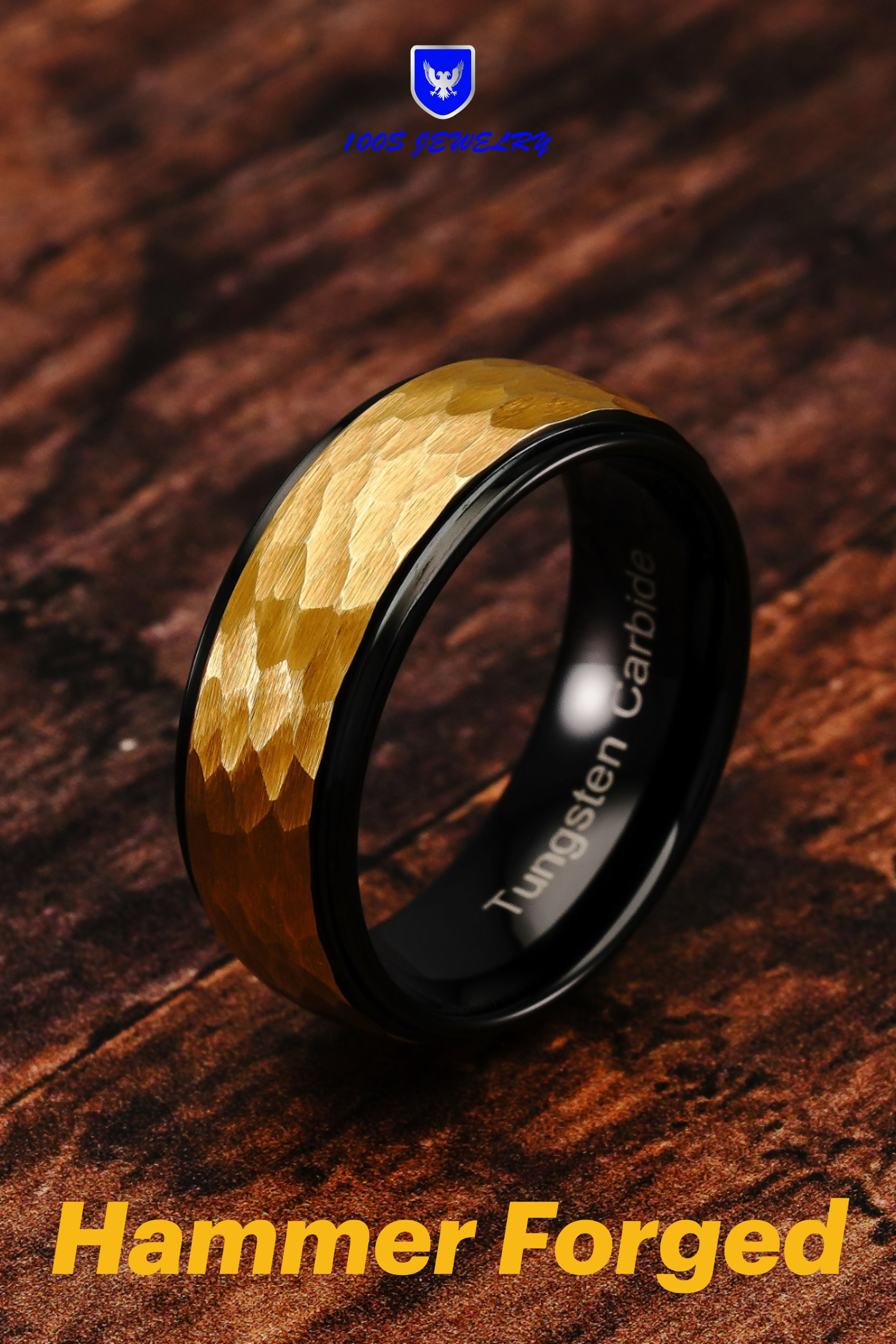 Mens Tungsten Carbide Wedding Band Ring Hammer Two