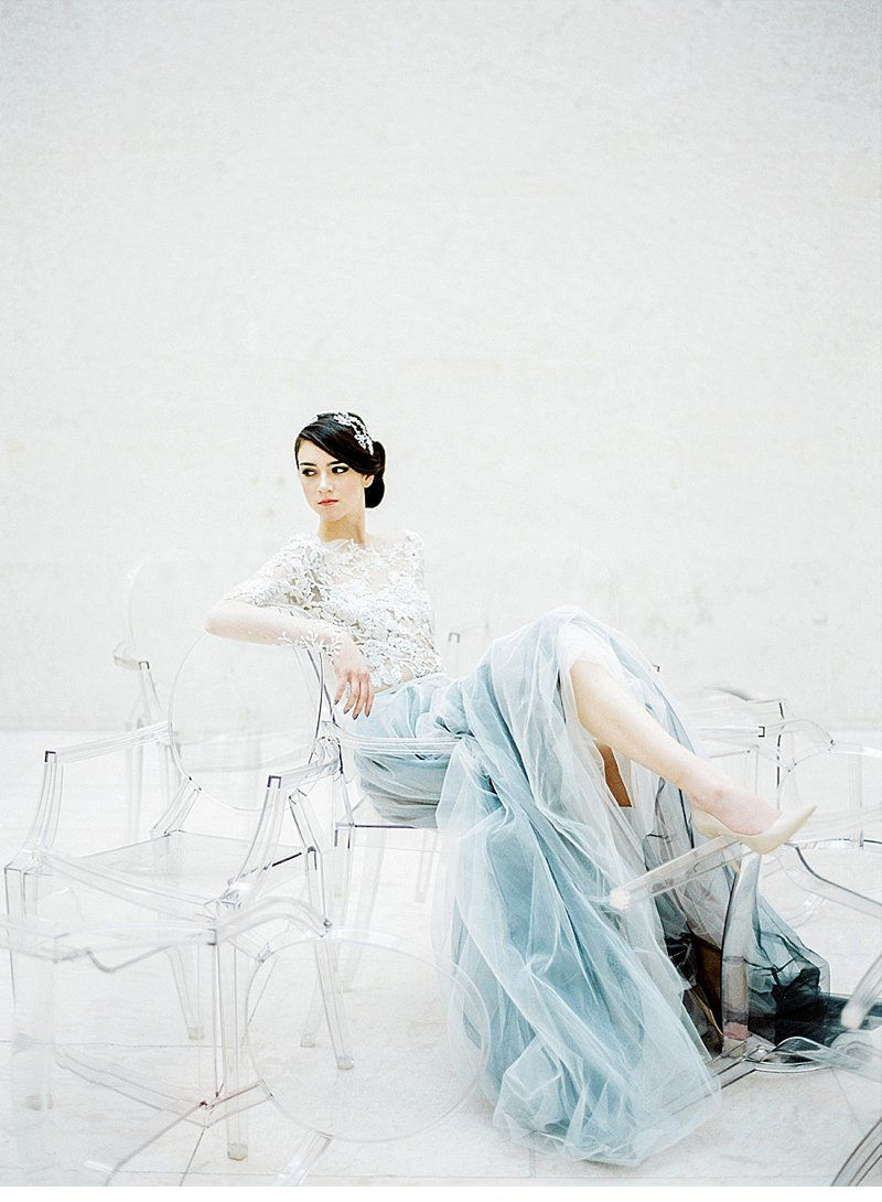 White and blue wedding dresses  An Ode to Minimalism by Peaches u Mint by Pia Clodi  fashion