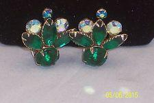 Vintage Green & AB Rhinestone Big Clip on Earrings