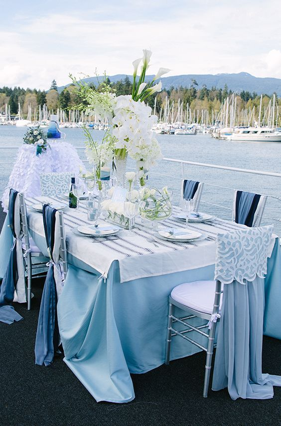 Why Not Try This Blue Outdoor Waterfront Wedding Reception