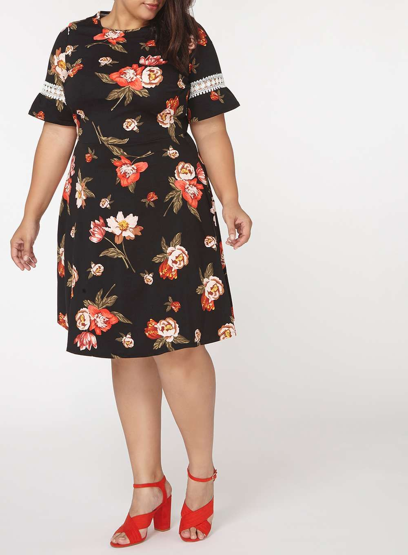a7306a40394 Womens DP Curve Plus Size Black Floral Print Fit and Flare Dress- Black