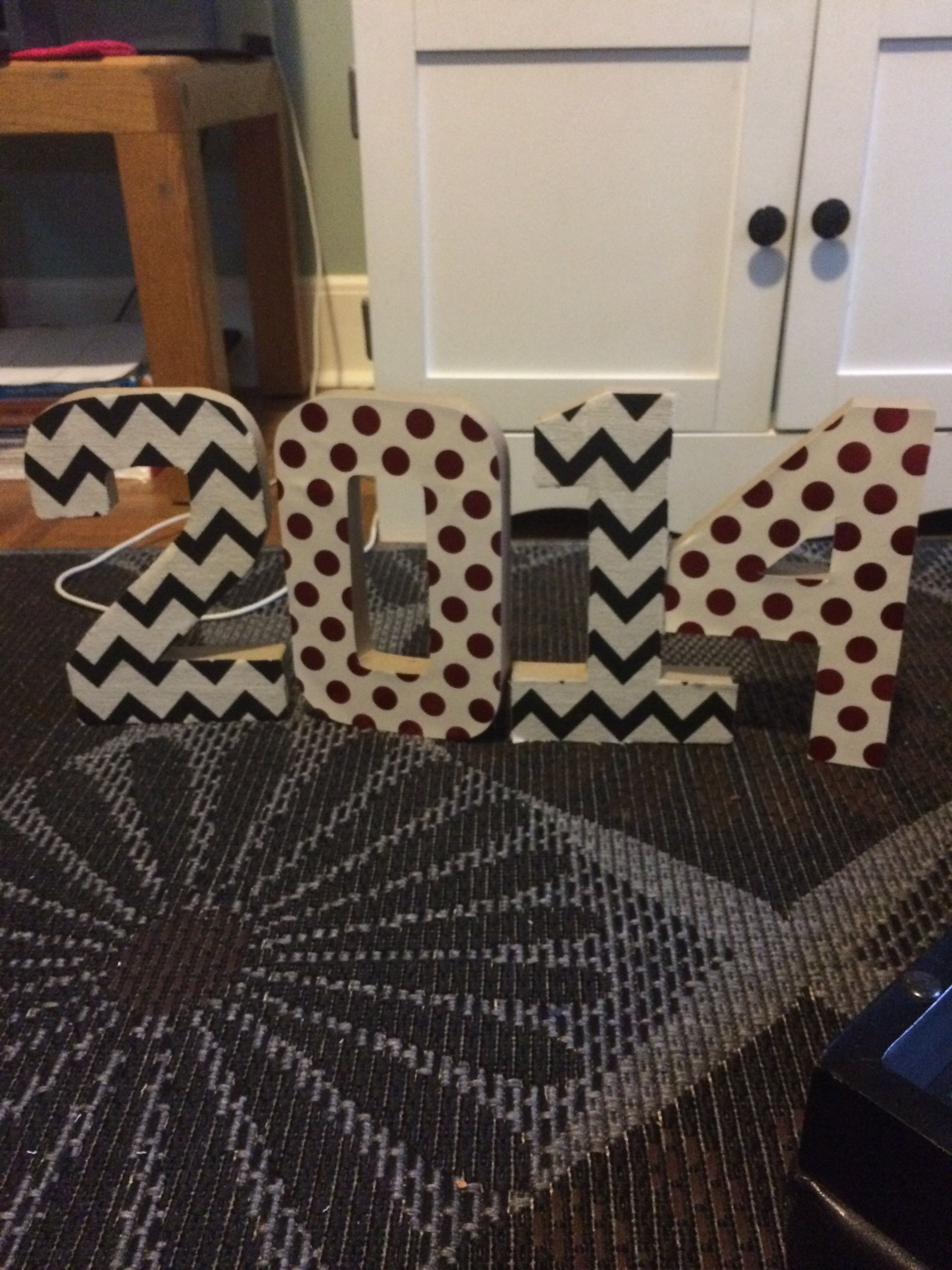 Cardboard Numbers From Hobby Lobby Covered In Scrapbook Paper Will