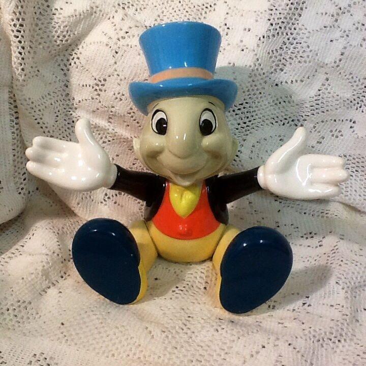 Cutest Vintage Porcelain Jiminy Cricket Music Musical Figurine By Schmidt Figurines Contenant Objets