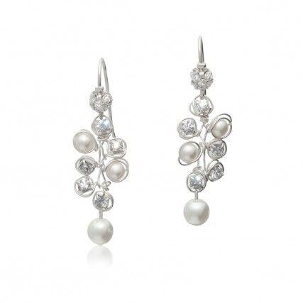 Brautschmuck ohrringe perlen  Elegante Hochzeits-Ohrringe mit Perlen Ivory und Strass ...