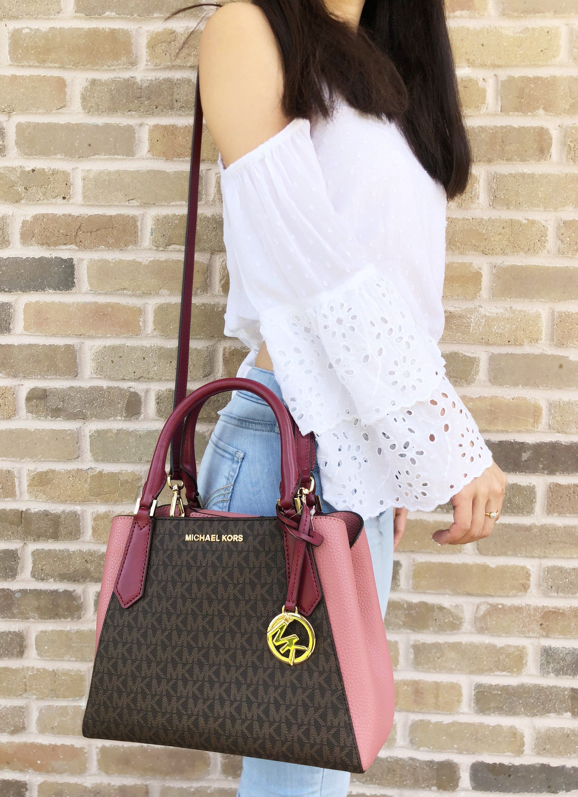 Michael Kors Kimberly Small Satchel Brown MK Signature Mulberry Pink  MK   Handbags  MichaelKors cd4dc44b31885