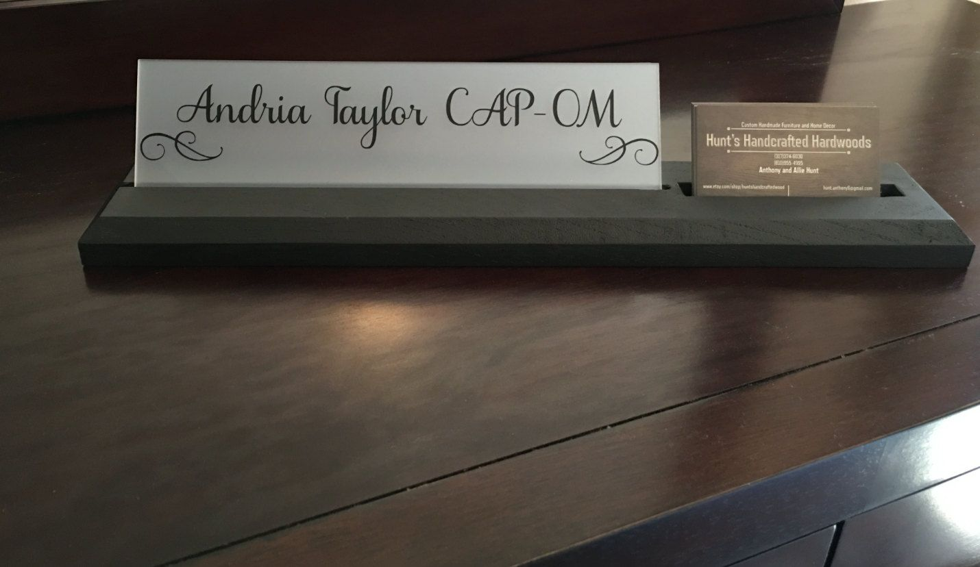 Desk Name Plate with Attached Business Card Holder by ...