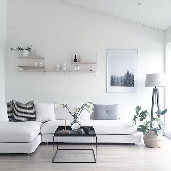 30 home decor minimalist idea monochrome color clean for Clean modern living room