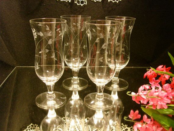 Princess House Collectors | PRINCESS HOUSE CRYSTAL, Set of 4 Etched Crystal 6 Inch Goblets, Add or ...