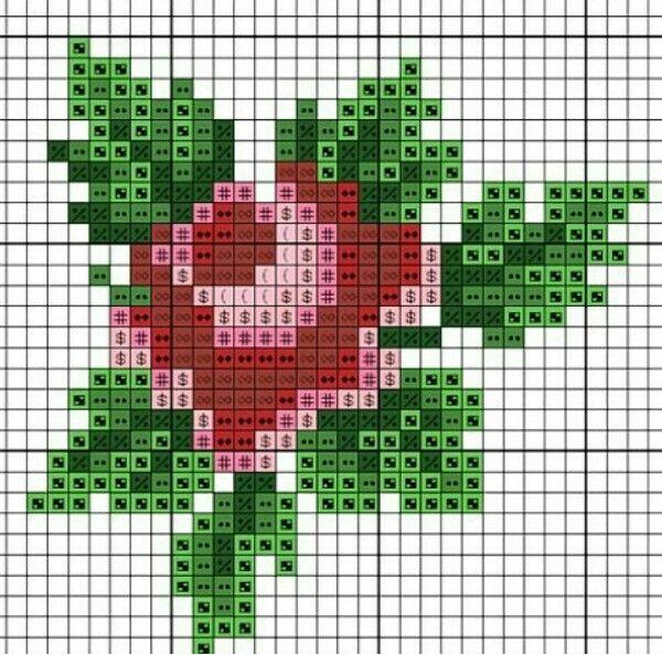Rose chart | needlework charts (petit point roses) | Pinterest ...