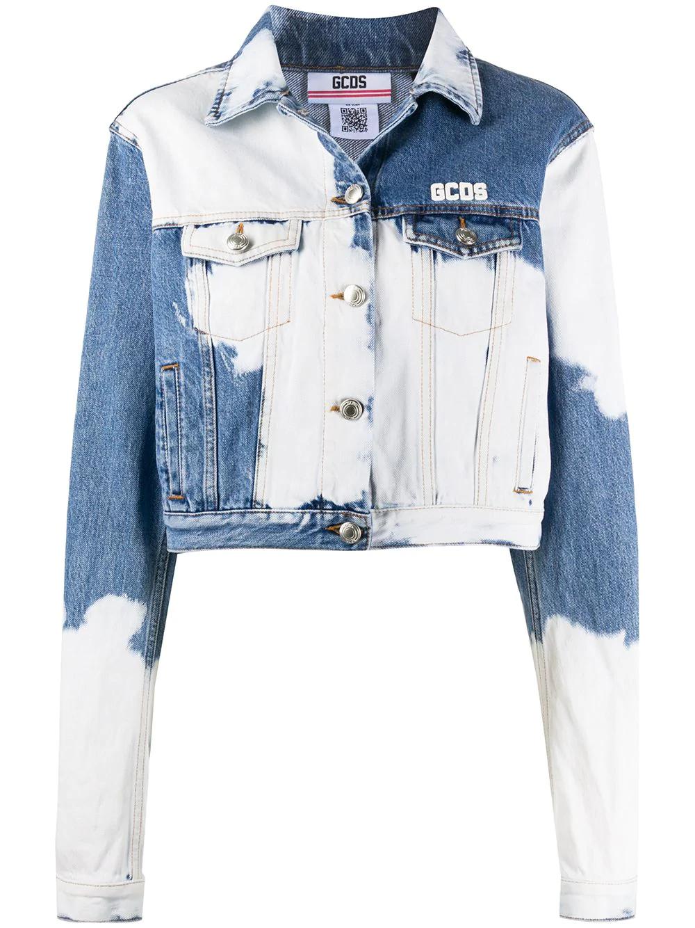 Gcds Bleached Effect Denim Jacket Farfetch Denim Jacket Women Denim Jacket Patches Upcycled Denim Jacket [ 1334 x 1000 Pixel ]