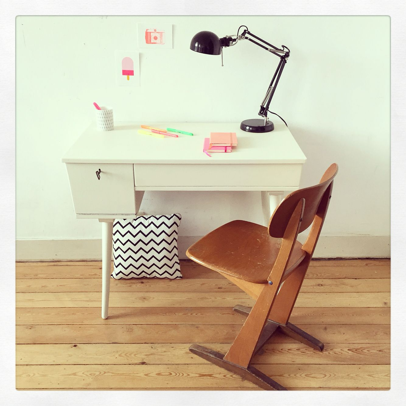 Refurbished white vintage desk selected and renovated by My Ex Boyfriend -www.myexboyfriend.info