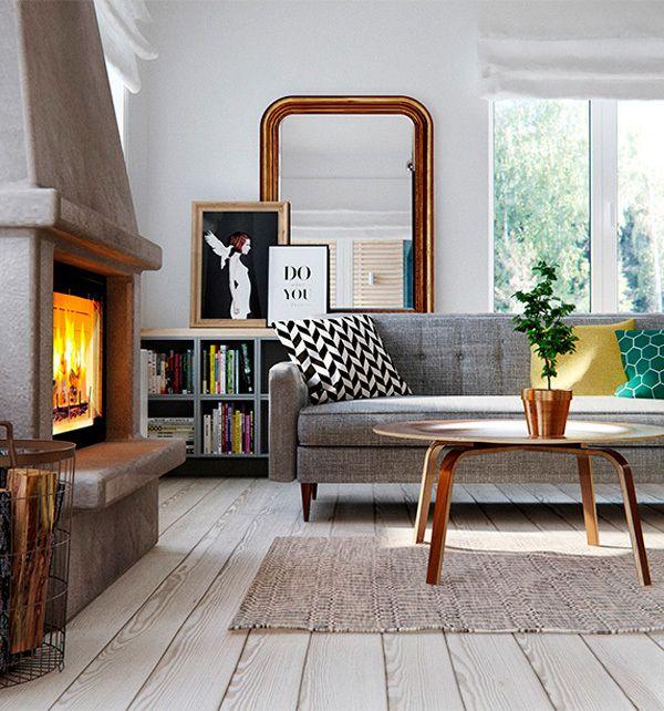 Salón con chimenea y sofá gris | Salones | Pinterest | Salon comedor ...