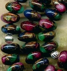 "Mosaic Agate Rondell Beads~8mm~16"" Strand~Golddust~Blue~Purple~Green PRETTY"