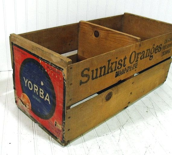 vintage sunkist oranges large double crate wooden bin