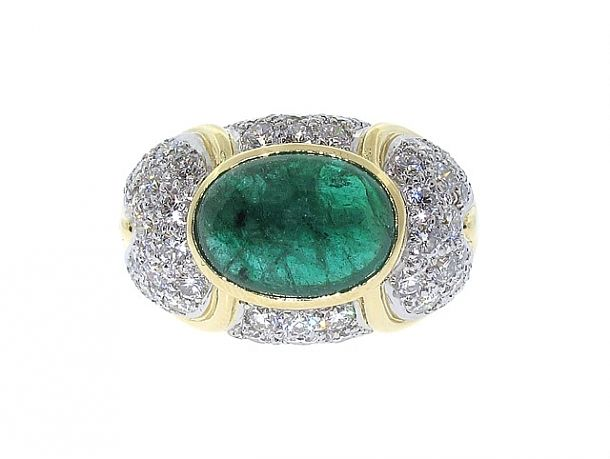 Emerald and Diamond Ring in 18K and Platinum