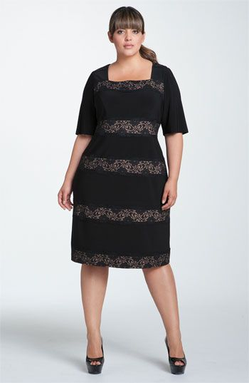4b11e830 Adrianna Papell Banded Lace Jersey Sheath Dress (Plus) available at  Nordstrom