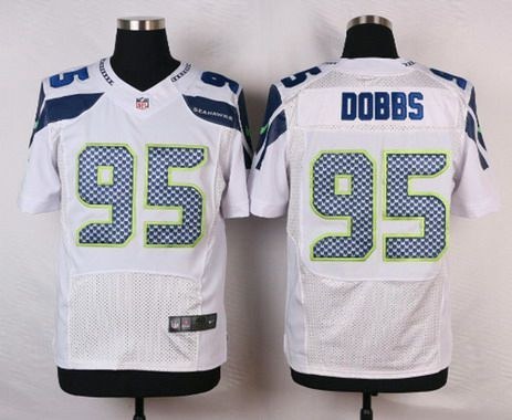 Men's Seattle Seahawks #95 Demarcus Dobbs White Road NFL Nike Elite Jersey