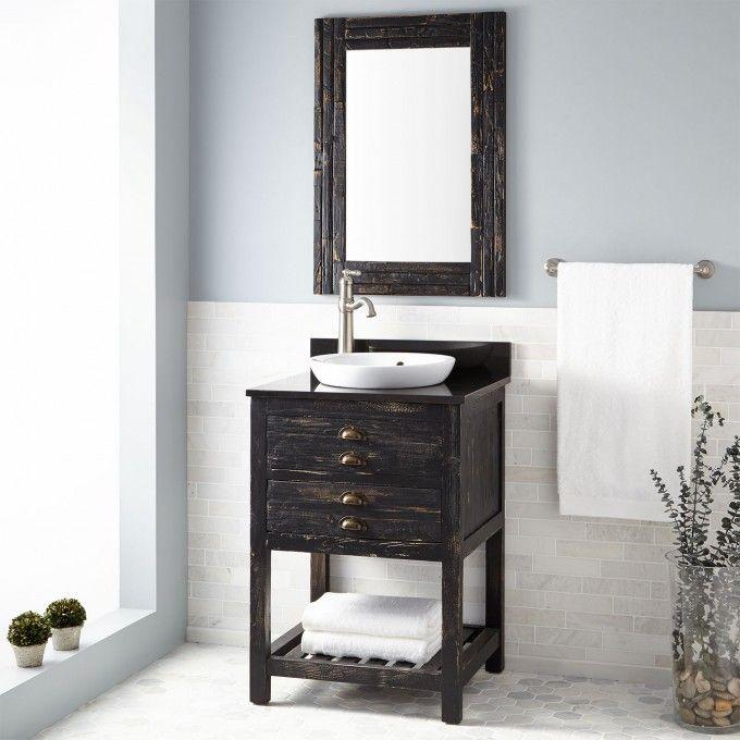 The Awesome Web Benoist Reclaimed Wood Vanity for Semi Recessed Sink Antique Pine Bathroom Vanities Bathroom