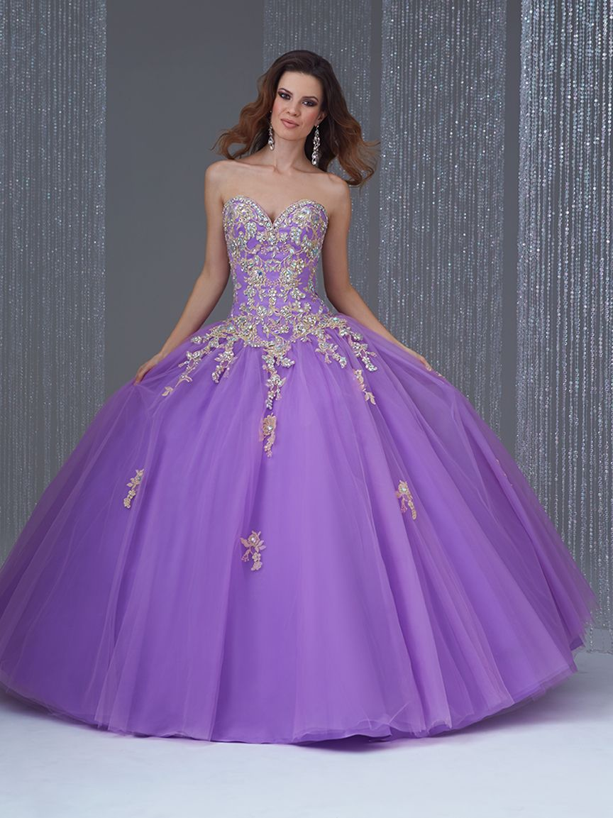 Exquisite appliqued purple organza sweet or quinceañera my