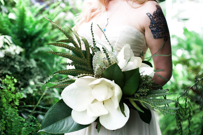 Bleedfoot florals big tropical magnolia blossom bouquet jurassic