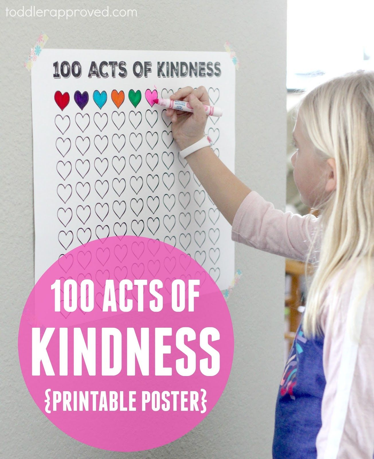 picture relating to 100 Day Countdown Printable named 100 Functions of Kindness Totally free Printable Countdown Poster