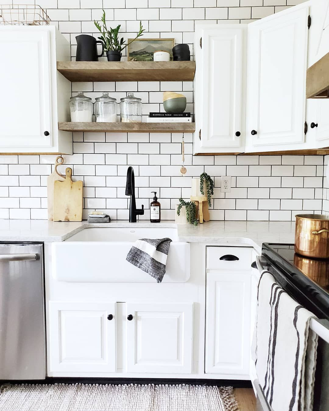 Removing The Upper Cabinets Above The Sink And Replacing Them With Open Shelves Was One Of The Best Decisions We Made Home Decor Kitchen Kitchen Kitchen Decor