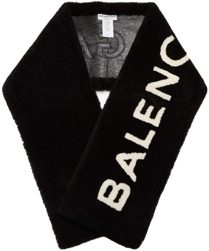 Black Shearling Logo Scarf Balenciaga cb0FO