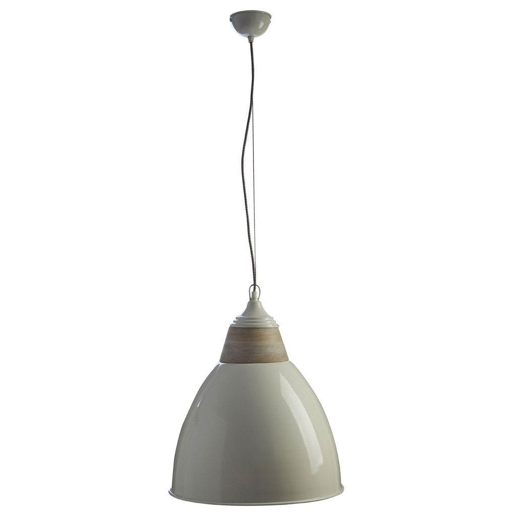 Oslo Large Pendant Light, Iron / Wood, White