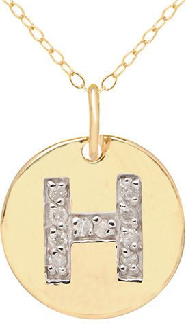 Lord & Taylor 14 Kt. Yellow Gold and Diamond H Pendant Necklace on shopstyle.com