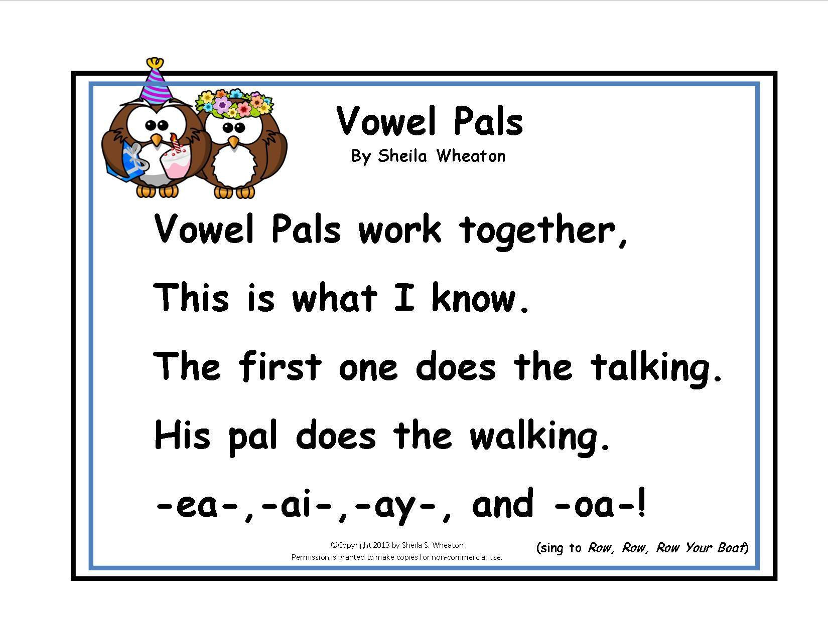 Vowel Pals Song Ea Ai Ay Oa