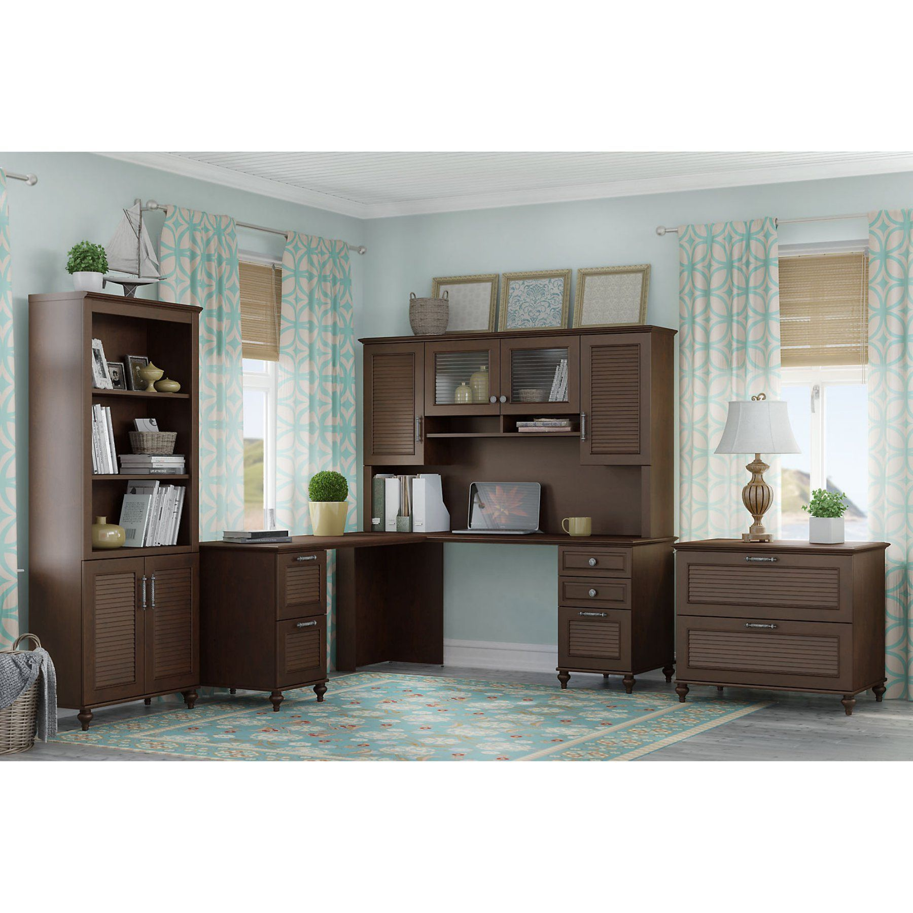 Kathy Ireland By Bush Furniture Volcano Dusk 3 Piece L Shaped Home Office Set With Hutch