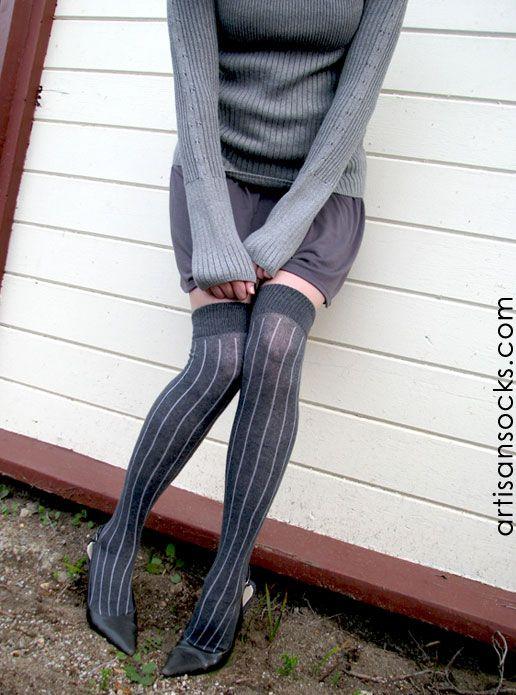 10b75e9d8ff RocknSocks Slick Grey Vertical Striped Cotton Over the Knee Socks (OTK)  from Artisan Socks www.artisansocks.com