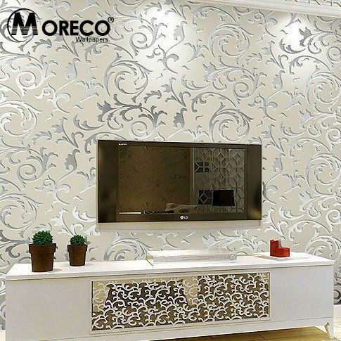 Cheap wallpaper silver buy quality wallpaper romantic for Cheap wallpaper rolls