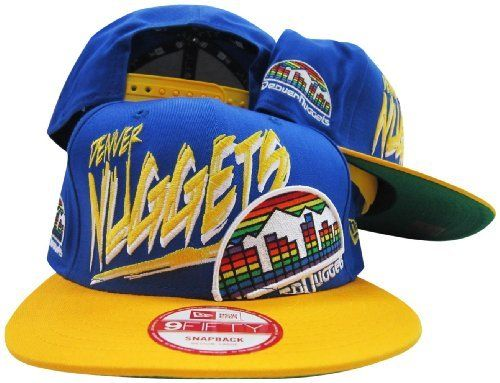 brand new bff93 066a1 Denver Nuggets Blue Yellow Two Tone Plastic Snapback Adjustable Snap Back  Hat   Cap New Era.  29.99