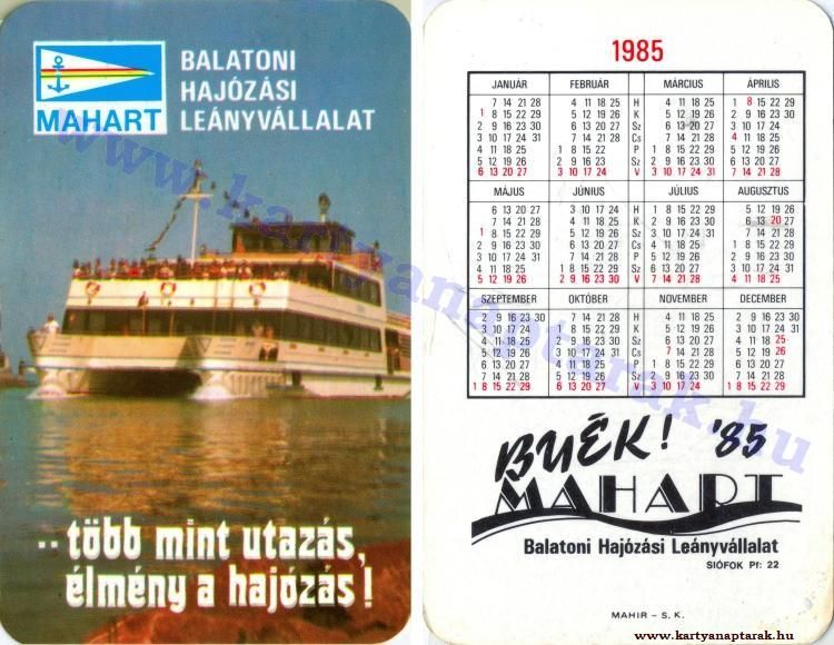 1985 1985 0155 Regi Magyar Kartyanaptarak Pink Es Mult