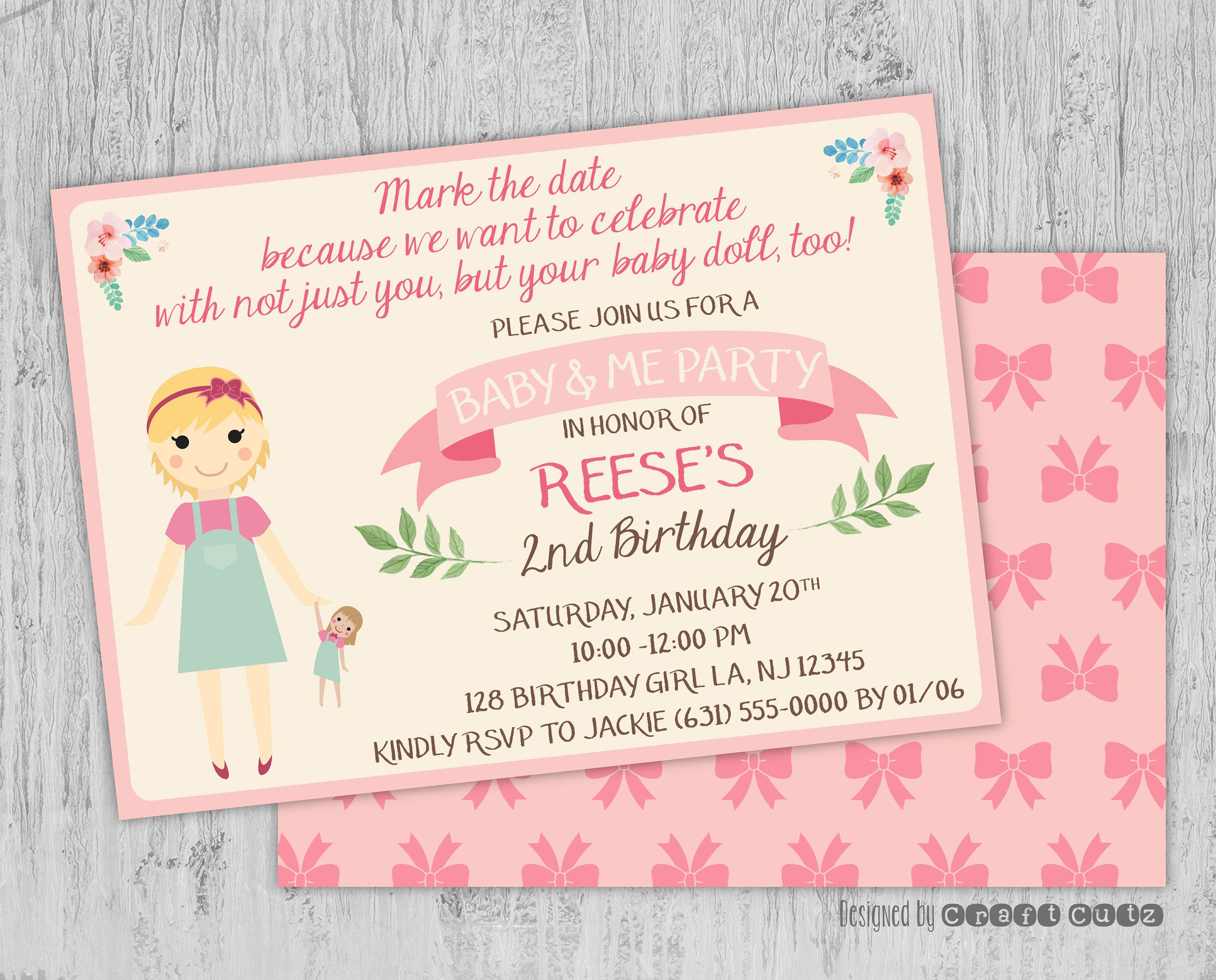 Baby and me birthday invitation baby doll party invitation baby and me birthday invitation baby doll party invitation little girls birthday party filmwisefo