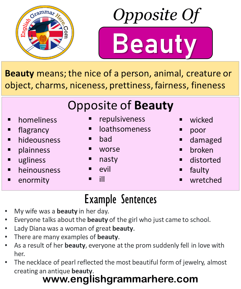 Opposite Of Beauty Antonyms Of Beauty Meaning And Example Sentences Antonym Opposite Words Contradict Each Other And Meet Oppo Opposite Words Opposites Words