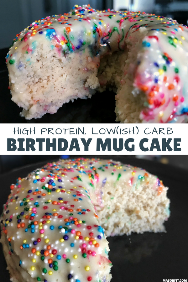 A mug cake recipe for high protein birthday cake that's ready in less than 5 minutes and packs 26 grams of protein into a 265-calorie cake. It's moist and delicious, just like real birthday cake. #proteinmugcakes