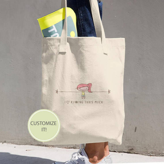 An Awesome Personalized Gift For Runners A Classic Tote Bag Thatll Withstand Whatever You Throw In It From Shoes To Face Towel