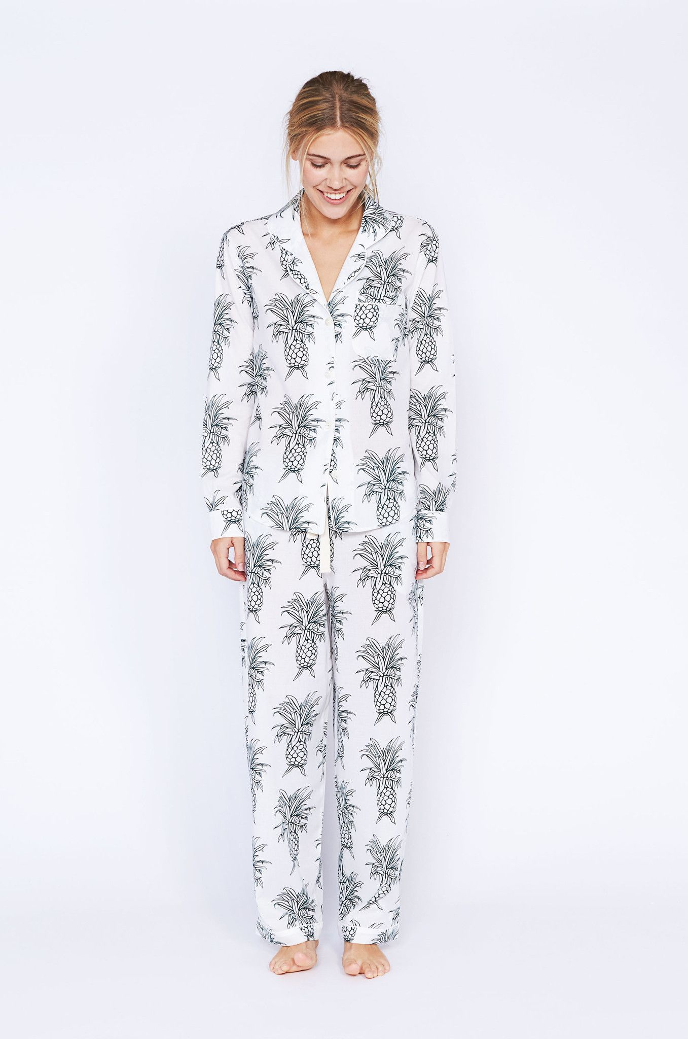 e1fbfc1d8c Howie Pineapple Print Long Luxury Cotton Womens Pyjama Set - White