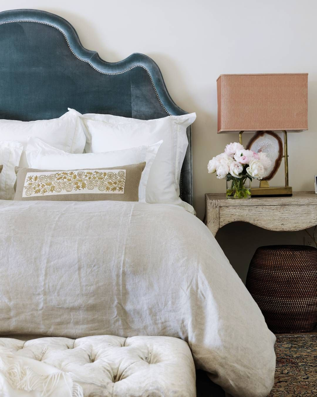 The Master Bedroom Layers Quiet Bedding From Pratesi With A Plush Nancy  Corzine Silk Velvet Headboard To Create A Soothing Retreat. The Side Table  Is By ...