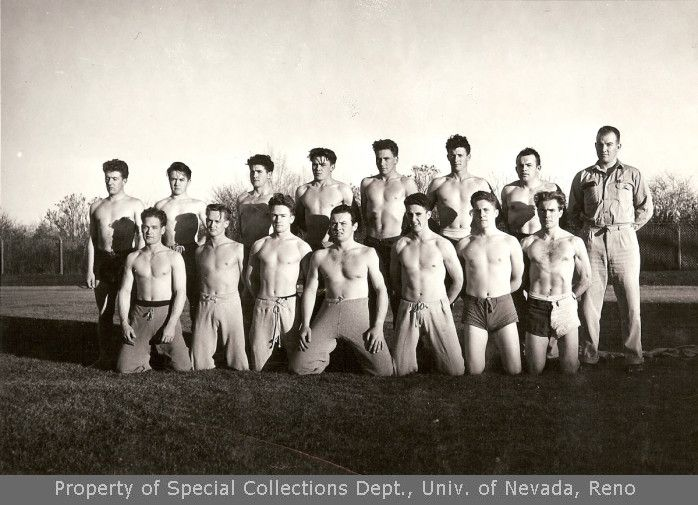 15 unidentified men at an athletic field (1930s)